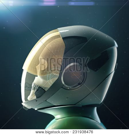 Dead Skull Astronaut In Spacesuit And Helmet. On Dark Background With Stars And Flares 3d Rendered