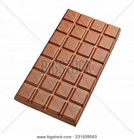 Whole Full Size Chocolate Bar Isolated On White Background With Clipping Path