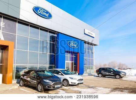 Samara, Russia - February 24, 2018: Office Building Of Official Dealer Ford In Winter Day. Ford Moto