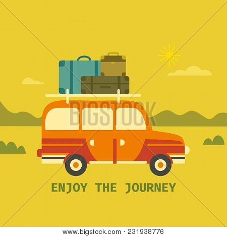 Time To Travel Icon. Flat Line Tourism Trip Symbol Sign. Offroad Vehicle With Luggage Driving. Vacat