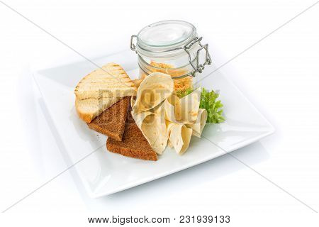 Snack For Beer. Crackers And Pita Bread With Sauce . Isolated