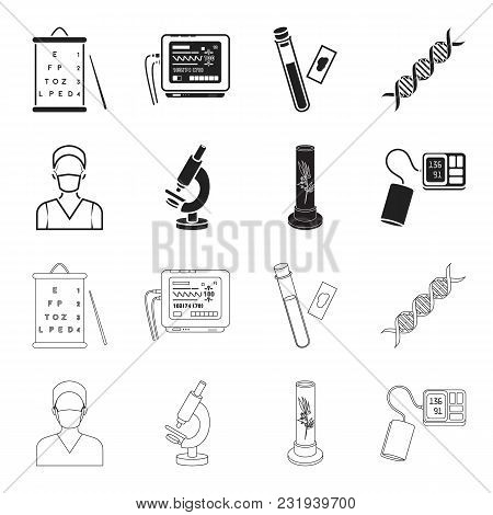 Plant In Vitro, Nurse, Microscope, Tonometer. Medicine Set Collection Icons In Black, Outline Style
