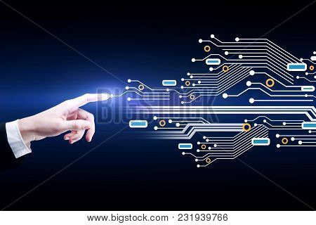 Businessman Hand Pointing At Abstract Glowing Circuit Pattern. Software And Computer Concept. 3d Ren