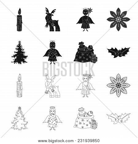 Christmas Tree, Angel, Gifts And Holly Black, Outline Icons In Set Collection For Design. Christmas