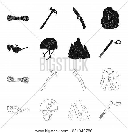 Helmet, Goggles, Wedge Safety, Peaks In The Clouds.mountaineering Set Collection Icons In Black, Out