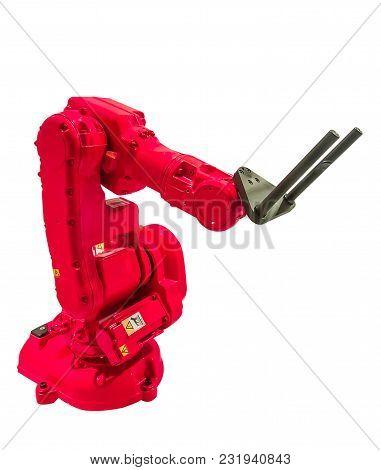 Industrial Robots For Welding & Handling On White Background