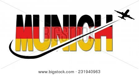 Munich flag text with plane silhouette and swoosh illustration