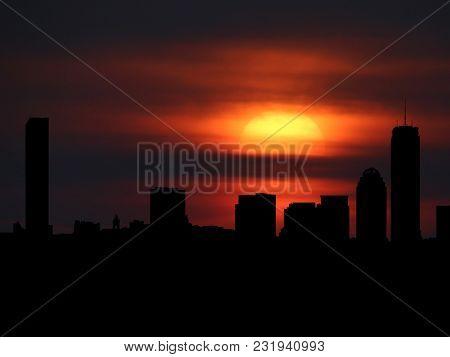 Boston skyline silhouette with sunset illustration