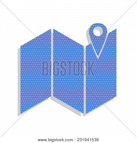 Pin On The Map. Vector. Neon Blue Icon With Cyclamen Polka Dots Pattern With Light Gray Shadow On Wh