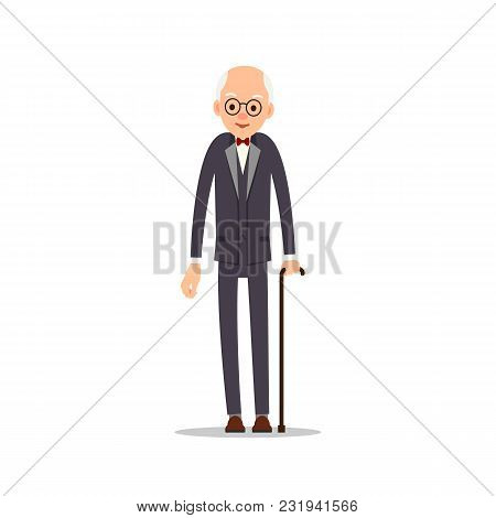Old Man. Elderly Man In Tail-coat With Bow Tie Leans Against Stick. Cartoon Illustration Isolated On