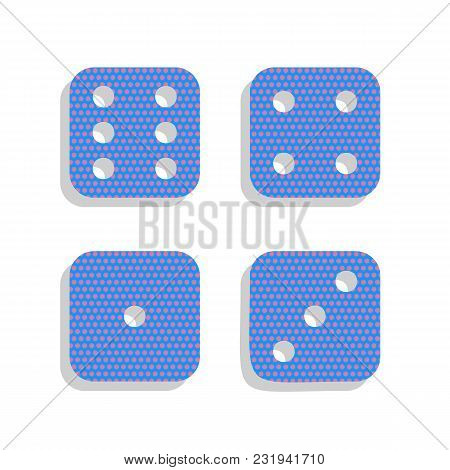 Devils Bones, Ivories Sign. Vector. Neon Blue Icon With Cyclamen Polka Dots Pattern With Light Gray