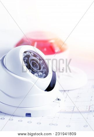 Video Security Equipment And Blueprint On A Table. Soft Focus Photo Good For Security Service Engine