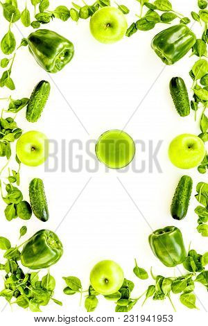 Fitness Greeny Drink With Vegetables On White Desk Background Top View Mock-up
