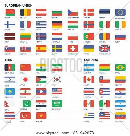 Flags Vector Of The World. European, Asia, America