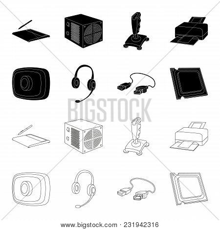 Webcam, Headphones, Usb Cable, Processor. Personal Computer Set Collection Icons In Black, Outline S