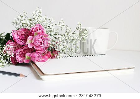 Styled Stock Photo. Closeup Of Wedding Bouquet Made Of Pink Roses And Baby's Breath, Gypsophila Flow