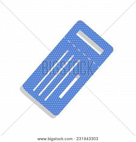 Ticket Simple Sign. Vector. Neon Blue Icon With Cyclamen Polka Dots Pattern With Light Gray Shadow O