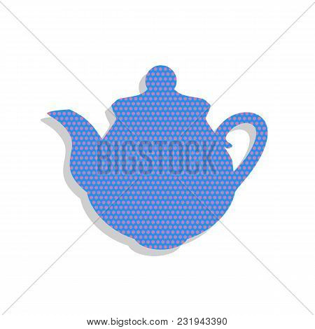Tea Maker Kitchen Sign. Vector. Neon Blue Icon With Cyclamen Polka Dots Pattern With Light Gray Shad