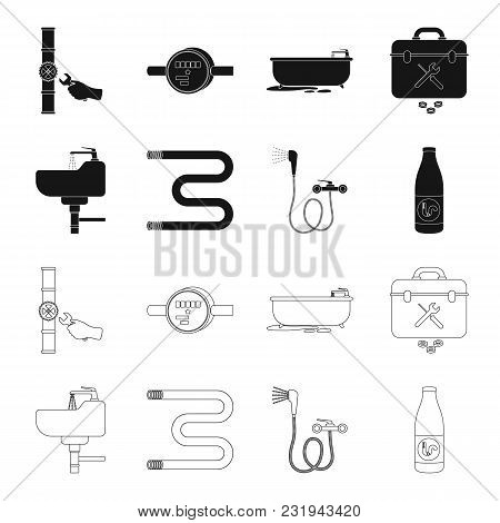 Washbasin, Heated Towel-dryer, Mixer, Showers And Other Equipment.plumbing Set Collection Icons In B