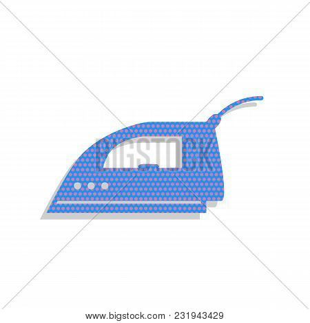 Smoothing Iron Sign. Vector. Neon Blue Icon With Cyclamen Polka Dots Pattern With Light Gray Shadow