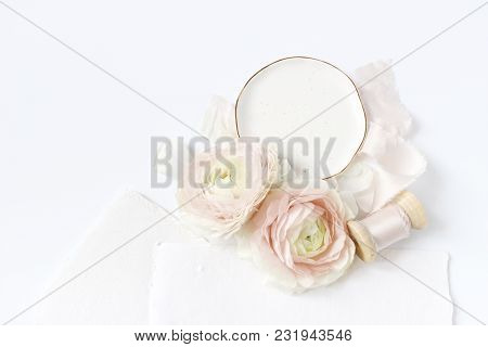 Feminine Wedding, Birthday Desktop Mock-up Scene. Porcelain Plate, Blank Craft Paper Greeting Cards,