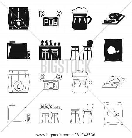Tv, Bar Counter, Chairs And Armchairs, Potato Chips.pub Set Collection Icons In Black, Outline Style