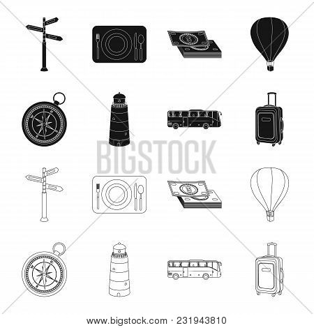 Vacation, Travel, Lighthouse, Compass .rest And Travel Set Collection Icons In Black, Outline Style