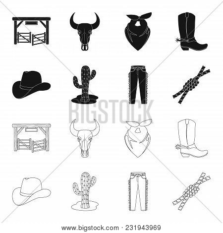 Hat, Cactus, Jeans, Knot On The Lasso. Rodeo Set Collection Icons In Black, Outline Style Vector Sym