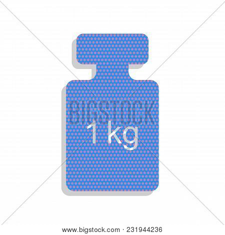 Weight Simple Sign. Vector. Neon Blue Icon With Cyclamen Polka Dots Pattern With Light Gray Shadow O