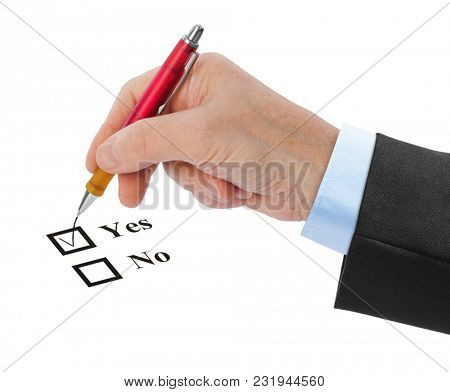 Hand with pen and check boxes isolated on white background
