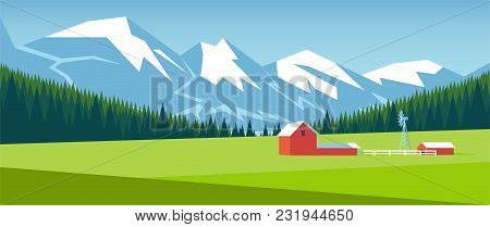 Mountain Landscape With Pine Forest And Green Meadow On Which Stands A Small Farm. Farm On The Field