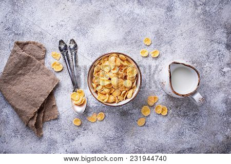 Sweet Cereal Corn Flakes In Bowl. Top View