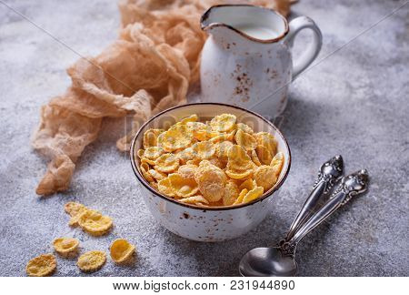 Sweet Cereal Corn Flakes In Bowl. Selective Focus