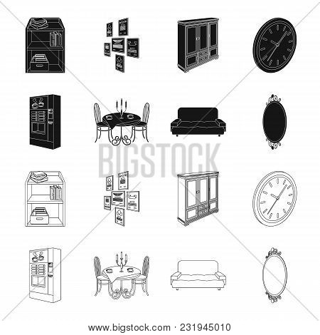 Coffee Maker, Served Table In The Restaurant And Other  Icon In Black, Outline Style Isometric.soft