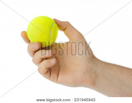 Hand with tennis ball isolated on white background