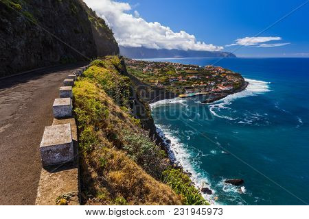 Village Ponta Delgada in Madeira Portugal - travel background