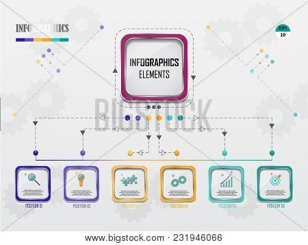 Business Data Visualization. Process Chart. Abstract Elements Of Graph, Diagram With Steps, Options,