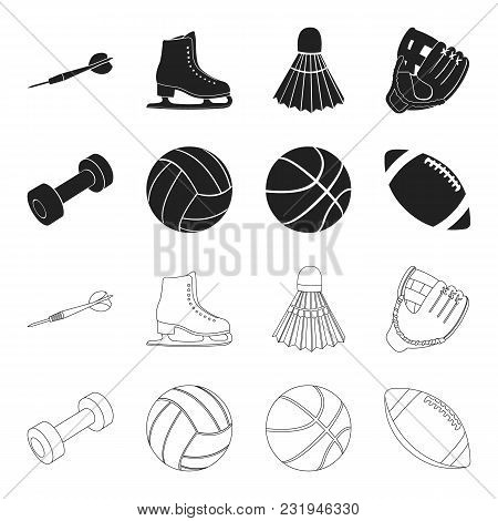 Blue Dumbbell, White Soccer Ball, Basketball, Rugby Ball. Sport Set Collection Icons In Black, Outli