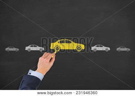 Human Hand Drawing Car Choose On Blackboard