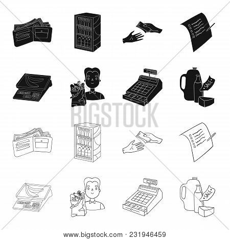 Package, Scales, Banana, Fruit .supermarket Set Collection Icons In Black, Outline Style Vector Symb