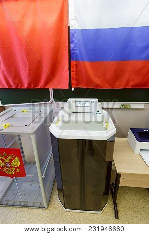 Balashikha/ Russia - March 18, 2018. Electronic Ballot Box With Scanner In A Polling Station Used Fo