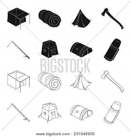 Spinning For Fishing, Tent, Thermos.tent Set Collection Icons In Black, Outline Style Vector Symbol