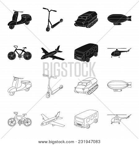 Bicycle, Airplane, Bus, Helicopter Types Of Transport. Transport Set Collection Icons In Black, Outl