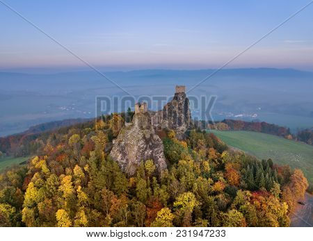 Trosky Castle in Bohemia paradise - Czech republic - aerial view - travel and architecture background
