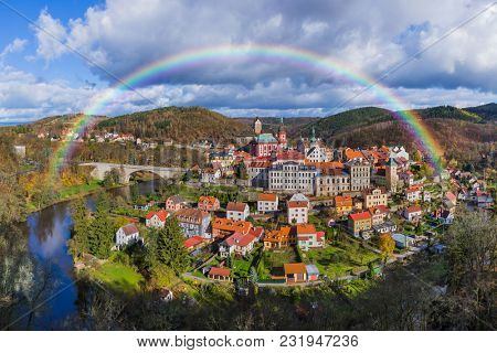 Rainbow in Castle Loket - Czech Republic - travel and architecture background