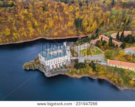 Castle Orlik nad Vltavou in Czech Republic - aerial view - travel and architecture background