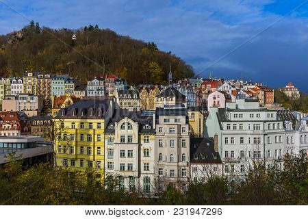 Karlovy Vary in Czech Republic - travel and architecture background