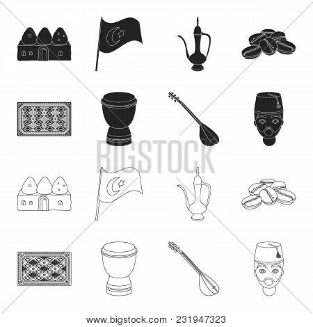 Turkish Carpet, Saz, Drum, Turkish Men.turkey Set Collection Icons In Black, Outline Style Vector Sy