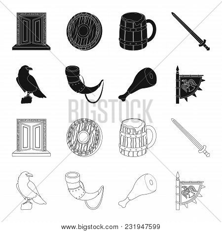 Sitting Crow, Horn With Drink, Ham, Victory Flag. Vikings Set Collection Icons In Black, Outline Sty