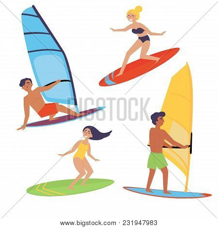 Summer Water Beach Sports, Activities. Board With A Sail. Men And Women Standing On The Board Learni